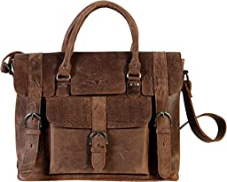 UF Rustic Leather 15 Inch Laptop Shoulder Bag For Women Men Hand Made Briefcase 1 Padded Sleeve For Ipads Tablets Notebooks Or Computers Designed For Busy Men Women Business Can Be Beautiful Tobacco