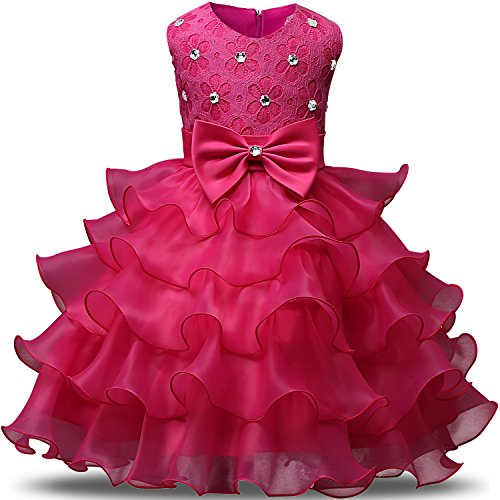 NNJXD Girl Dress Kids Ruffles Lace Party Wedding Dresses Size 2-3 Years Rose