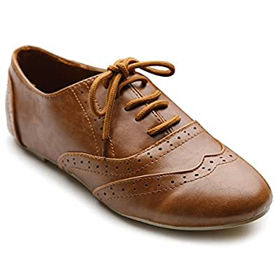 Ollio Women's Shoe Classic Lace Up Dress Low Flat Heel Oxford(5.5 B(M) US, Brown)