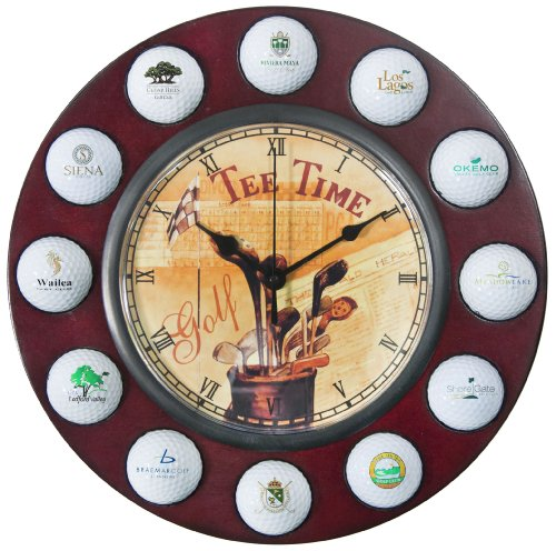 Clubhouse Collection Golf Gifts and Gallery Tee Time Wall Clock and Ball Holder