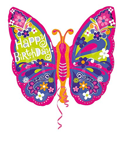 "Anagram International Happy Birthday Beautiful Butterfly Balloon, 25"", Multicolor"
