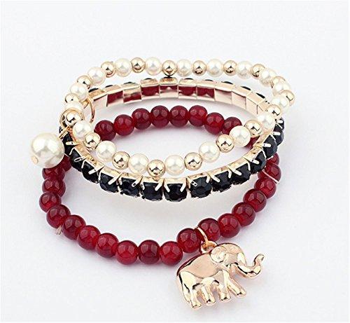 3Pcs Sweet All-Match Elephant Pendant 3 Wraps Wrist Wrap Bracelet Wine Red