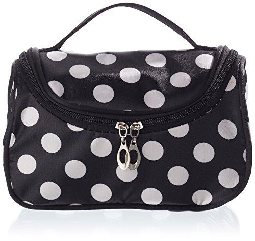 leegoal-black-zipper-cosmetic-bag-toiletry-bag-make-up-bag-hand-case-bag-with-dot-patterns
