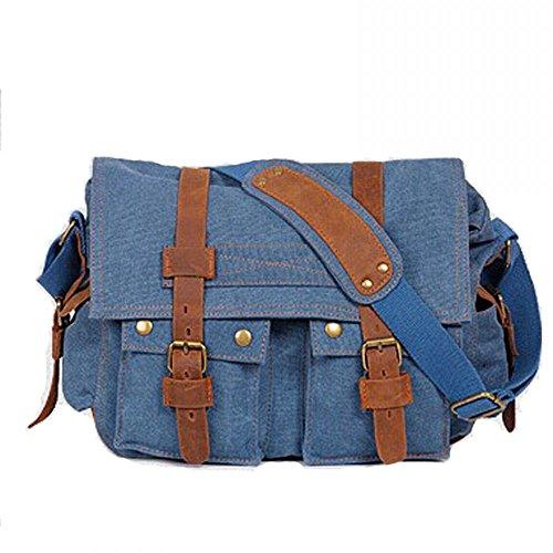 Ambielly Messenger Bags Crossbody Borse per notebook zaino della spalla singolo borse di tela per gli uomini (Blu)