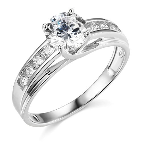 .925 Sterling Silver Rhodium Plated Wedding Engagement Ring - Size 7.5