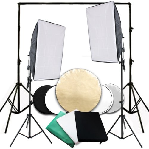 Photo Studio 50x70cm Soft box Continuous Lighting Equipment Kit with Black Green White Backdrop Background E27... Black Friday & Cyber Monday 2014