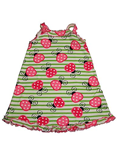 Sara'S Prints - Little Girls'S Lady Bugs Nightgown, Green, Pink 35289-4 front-655021