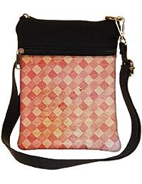 Snoogg Red Blocks Carpet Cross Body Tote Bag / Shoulder Sling Carry Bag