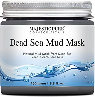 Majestic Pure Dead Sea Mud Mask 8.8 Oz - Spa's Premium Quality Facial Cleanser for All Skin Types - 100% Natural Formula, Absorbs Excess Oil and Removes Dead Skin Cells to Reveal Fresh and Soft Skin