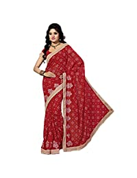 Ashika Designer Red Color Georgette Material Saree, Sari(5031)
