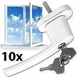 TecTake Fenstergriffe abschließbar Sicherheitsfenstergriff inklusive 2 Schlüssel pro Griff weiss