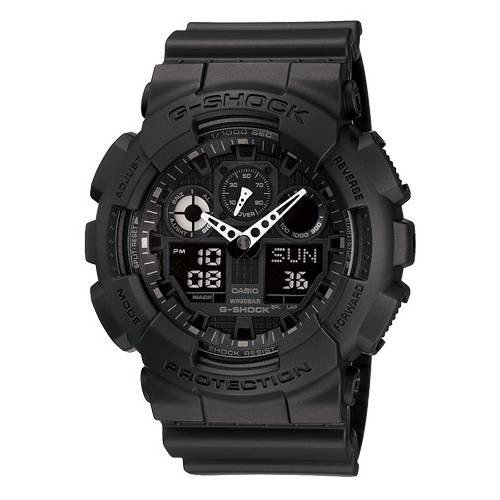 Casio G Shock Combination Miltary Watch-Matte Black model number is GA-100-1A1