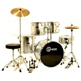 Silver Drum Set for Sale with Cymbals Hardware and Stool New Gammon 5-Piece Kit Full Size