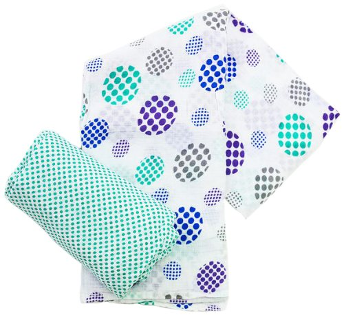 Plum Collections Pattern Cotton Muslin Squares Swaddle Wraps Spots Design (Pack of 2, X-Large)