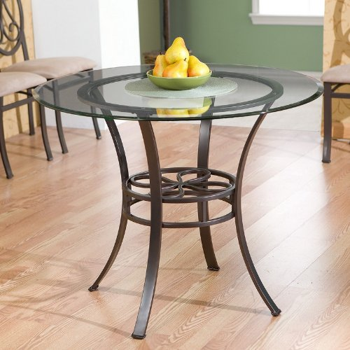 Cheap Dining Table with Glass Top Dark Brown Metal Tube Frame (AZ00-46297×20707)