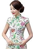 (海派物語)Shanghai Story チャイナドレス 民族風 花柄 半袖 ブラウス トップス チャイナ服 上着 女性用 2XL 98
