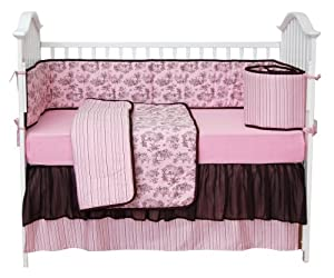 Tadpoles Tadpoles Toile Crib Set in Pink and Brown