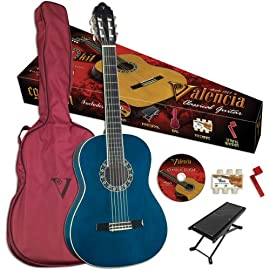 Valencia VG-CG1KBU Classical Guitar Blue Finish