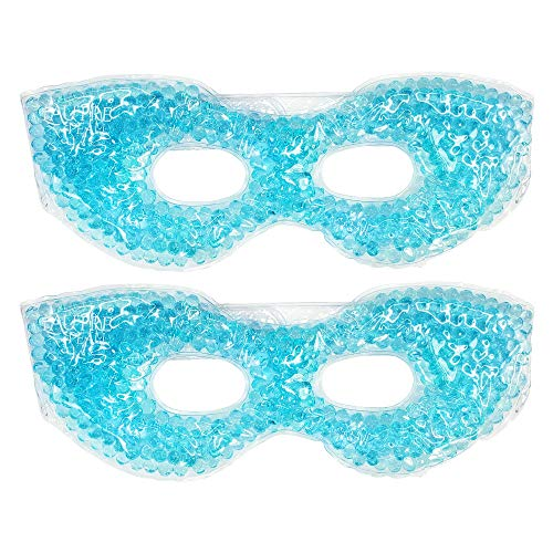 Redesigned Therapeutic Spa Gel Bead Eye Mask - Hot or Cold Reusable Ice Packs with Flexible Beads - Compress Therapy for Puffy Eyes, Dark Circles, Headaches, Migraines, Stress Relief, Facial Pain