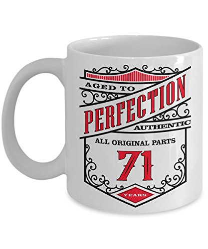 71st Birthday Gift Coffee Mug - Aged To Perfection 71 Years - Amazing Present Idea For Him and Her - Great Quality Ceramic Cups For Coffee, Tea, Milk & More - 11oz (Mustache Disposable Coffee Cups compare prices)