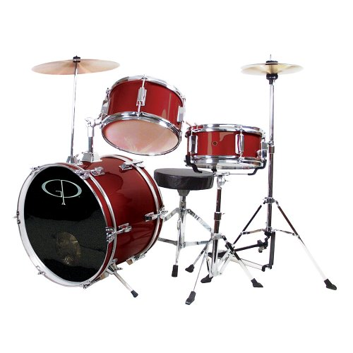GP Percussion GP50WR Complete Junior Drum Set (Wine Red, 3-Piece Set)