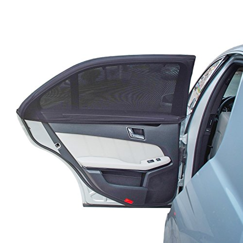 TFY Universal Car Side Window Sun Shade - Protects Your Kids from Sun Burn - Double Layer Design - Maximum Protection - Fit Most of Vehicle, Most of sedan, Ford, Chevrolet, Buick, Audi, BMW, Honda, Mazda, Nissan and Others - 2 Pieces (Regular Contoured Window)