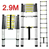 CDC® Multi-Purpose 2.9M/9.5FT EN131 Folding Climb Scalable Aluminium Telescopic Retractable Ladders Extension Extendable, Professional Heavy Duty Extension Telescopic Contractor Ladder Type for Home Loft Office Contractor