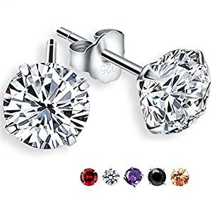 Freeman Jewels Platinum-Plated Sterling Silver Round Cubic Zirconia Stud Earrings 2 cttw(Champagne)