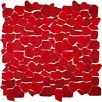 Fireside Pebbles & Stones Red Fractured Glass Collection Glossy Glass - 13653