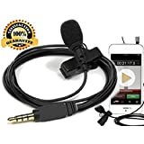 Omnidirectional Condenser Microphone High Sensitivity Mini Professional Deluxe Lavalier Mic Lapel Clip-on for Apple Iphone, Ipad, Ipod Touch, Samsung Android and Windows Smartphones
