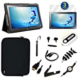 GTMax 13 Items Essential Accessories Bundle kit for Samsung ATIV XE500T1C Smart PC 500T 11.6-inch Tablet -- Black SlimBook Smart Leather Stand Case included [ Support Auto Sleep/Wake Function]