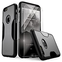 iPhone 6 Case, 6s SaharaCase Protective Kit (Gray) + [ZeroDamage Tempered Glass Screen Protector] Rugged Slim Fit Cover [Shock-Absorbing Reinforced Bumper] Scratch-Resistant Hard Back (Black/Gray)