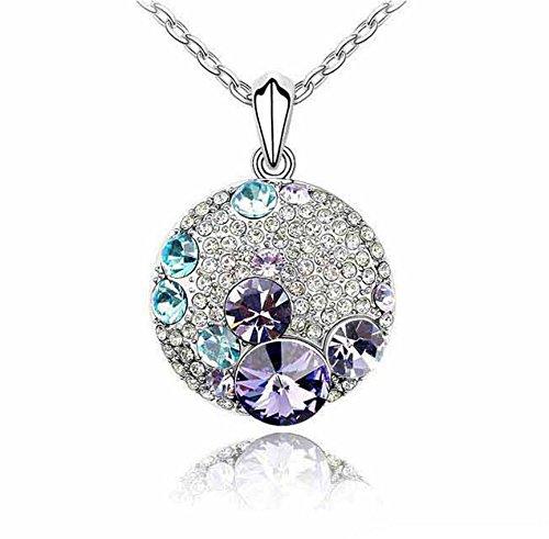 CS-DB Gold 18k White Gold Plated Swarovski Necklace Blinking Crystal Gold Pendant Jewelry Purple