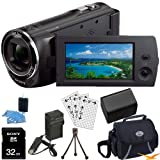 Sony HDR-CX220/B HDRCX220B CX220 HDR-CX220 B High Definition Handycam Camcorder with 2.7-Inch LCD (Black) Ultimate Bundle with 32GB SD Card, High Capacity Spare Battery, Rapid AC/DC Charger, Deluxe Carrying Case, Table Tripod, LCD Screen Protectors + More