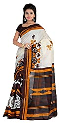 Aaina Women's Cotton Silk Saree with Blouse Piece (White)