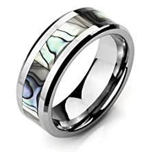 buy Men'S Wide 8Mm Tungsten Mother Of Pearl Abalone Shell Ring Band Silver Comfort Fit Wedding High Polish11