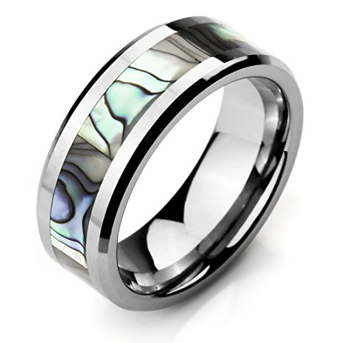 Men'S Wide 8Mm Tungsten Mother Of Pearl Abalone Shell Ring Band Silver Comfort Fit Wedding High Polish8