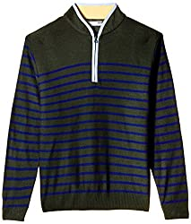 Flying Machine Men's Banded Collar Acrylic Sweater (FMSW0213_Black Forest_L)