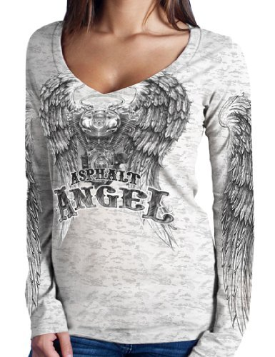 Hot Leathers Asphalt Angel Ladies Burnout Long Sleeve Tee (White, X-Large) by Hot Leathers