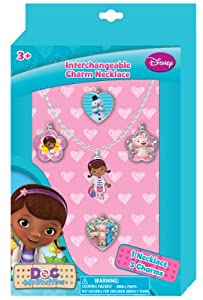 Doc McStuffins Interchangeable Charm Necklace Jewelry Gift Set with ADORABLE Necklace and 5 Charms