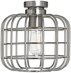 Cage Industrial Brushed Nickel Ceiling Fan Light Kit