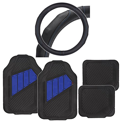 2Tone Rubber Floor Mats Black/Blue w/ GripDrive Stitched Steering Wheel Cover (Tuff Steering Wheel compare prices)
