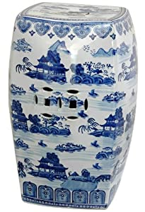 Oriental Furniture Distinctive Oriental Accessories, 18-Inch Blue and White Chinese Porcelain Garden Stool, Square with Landscape Design by Oriental Furniture