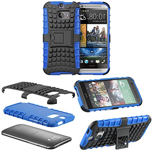 Mylife Azure Blue + Black {Rugged Design} Two Piece Neo Hybrid (Shockproof Kickstand) Case For The All-New Htc One M8 Android Smartphone - Aka, 2Nd Gen Htc One (External Hard Fit Armor With Built In Kick Stand + Internal Soft Silicone Rubberized Flex Gel