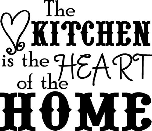 The kitchen is the heart of the home wall saying vinyl for Kitchen wall sayings vinyl lettering