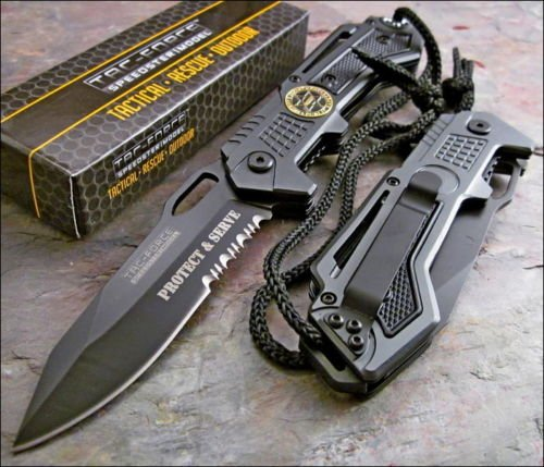 Tac-Force Speedster Assisted Opening Sheriffs Department Protect & Serve Knife!