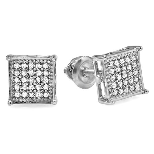 0.25 Carat (ctw) Platinum Plated Sterling Silver Real Diamond Square Mens Ladies Unisex Hip Hop Iced Stud Earrings 1/4 CT
