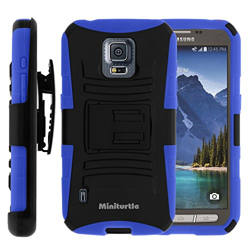 Miniturtle, 2 In 1 High Impact Protective Hybrid Dual Layer Armor Phone Case Cover With Built In Kickstand, Swivelling Holster Belt Clip, And Clear Screen Protector Film For Android Smartphone Samsung Galaxy S5 V Active Sm-G870 /At&T (Black / Blue)