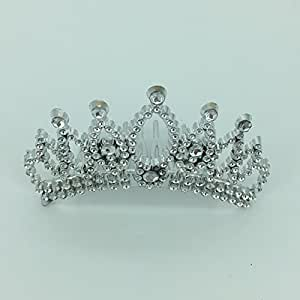 Funcart Plastic Crown Tiara silver clip for birthday girl