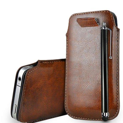 Huawei Ascend G620s Brown Leder Pull Tab Tasche Tasche + Stylus Pen & Poliertuch